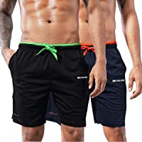 ZENGVEE 2 Pack Men's Running Shorts Gym Athletic Shorts with Zip Pockets Quick Dry Sport Workout Shorts for Fitness…