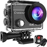 Crosstour 4K 20MP Action Cam Anti-Shake Microfono Esterno WiFi Time Lapse Subacquea 40M Videocamera Telecomando Impermeabile