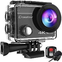 Crosstour 4K Caméra Sport 20MP Webcam WiFi Appareil Photo Étanche avec Microphone Externe Caméra Embarquée Stabilisateur…