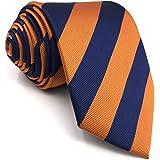 SHLAX&WING Nouveau Bleu Naranja Rayures Corbatas Para Hombre Set Costume d'affaires Long Maigre