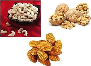 Ancy Cashews 100 Grams Almonds 100 Grams Pistachios 100 Grams (Kaju Badam Akhrot Giri) 300 gm