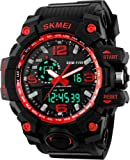 SKMEI MS BL1155 Digital Analogue Black Dial Silicon Rubber Band Men's Wrist Watch