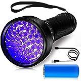 morpilot Lampe Torche UV Rechargeable, 51 LED Lampe de Poche UV 395nm Lumière Noire Ultra Violette avec Câble USB pour Détect