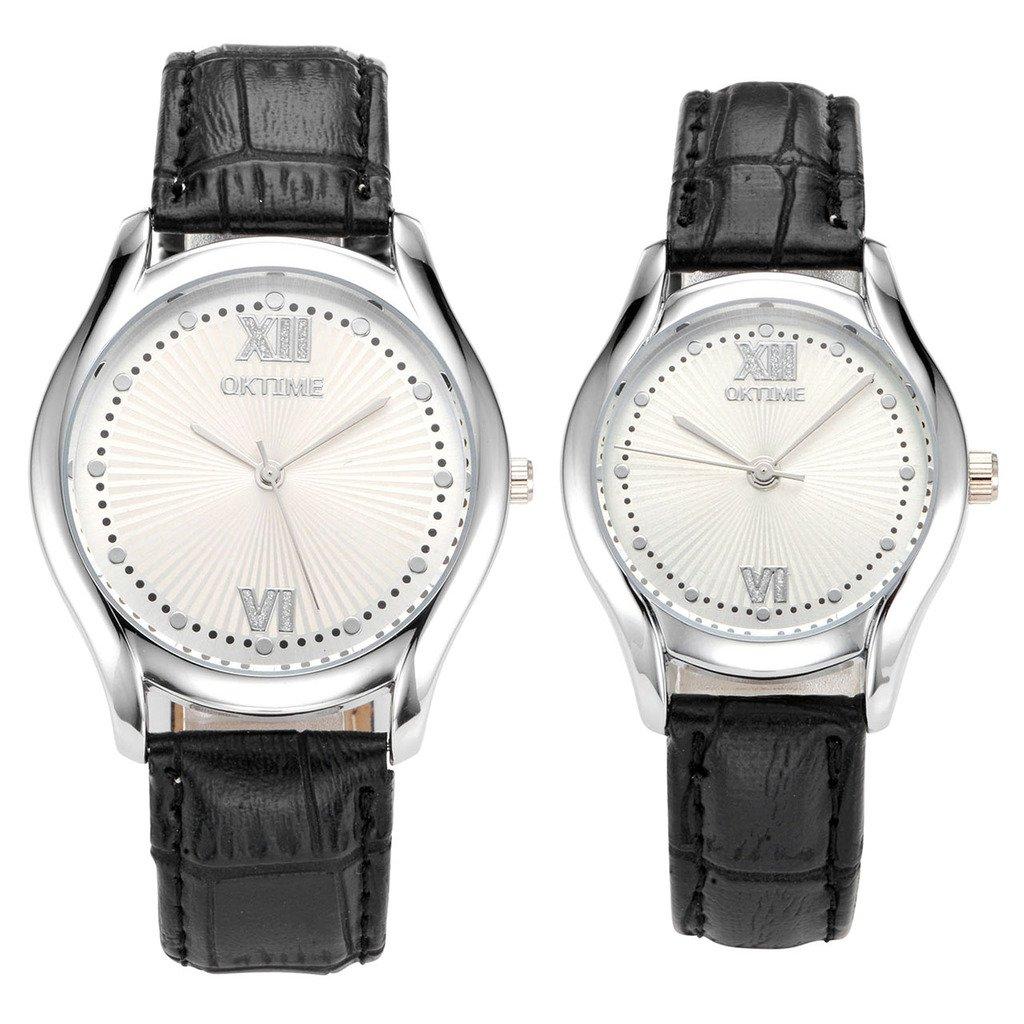 JSDDE Partner Armbanduhr Einfaches Classic Schwarz Lederband Analog Qaurz Liebe Paar Set