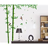 SYGA PVC Vinyl Wall Stickers for Living Room Self Adhesive Stickers, Green Bamboos & Birds