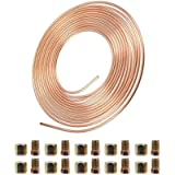 AnvFlik Brake Pipe copper coated steel Tubing 32.8Ft. of 3/16' Automotive Replacement Brake Lines Kit with 20 Nuts…