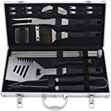 grilljoy 20PCS BBQ Tools Set - Stainless Steel Barbecue Utensil Set with Storage Case for Outdoor Barbecue - Premium BBQ Acce