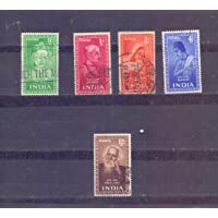 India - 1952 - 5 Used Stamps on Indian Saints, Poets - not Complete Set - 12 Anas Rabindranath Tagore Stamp is Inclusive…