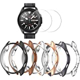 [6+2 Pack] Compatible Samsung Galaxy Watch 3 45mm Case with Screen Protector, Haojavo Soft TPU Cover Protective Bumper Shell