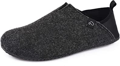 EverFoams Men's Micro Wool Felt Slipper with Removable Sole and Elastic Heel Cradle