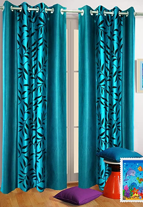 Elegant Buy Homefab India Set Of 2 Kolaveri Aqua Blue Curtains(HF356) Online At Low  Prices In India   Amazon.in