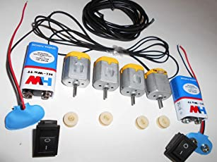 Science Project DIY Kit/4 DC Motor with 4 Small Pulley wheels+ 2 Battery(9Volt) with Snap(Connector)+ 4 Gear/Pully Belt + 1 Meter Wire + 2 Switch