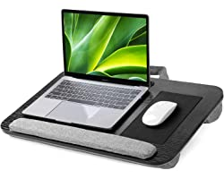 """HUANUO Lapdesk, Laptop Tray, Lap Desk with Cushion, Fits 15""""-17"""" Laptops, Built in Mouse Pad & Wrist Pad, Slot for Tablet & C"""