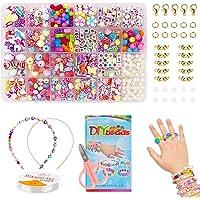 Enfants Bricolage Perles Set, pour Fabrication de Bijoux Collier Bracelets Bande de Cheveux, Acrylique DIY Kit Art Craft…