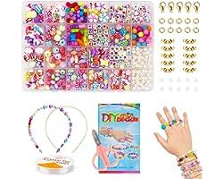 Enfants Bricolage Perles Set, pour Fabrication de Bijoux Collier Bracelets Bande de Cheveux, Acrylique DIY Kit Art Craft & Ki