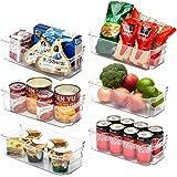 EZOWare Panier de Rangement en Plastique, Grand Bacs de Rangement, pour Frigo, Réfrigérateur, Congélateur, Cuisine, étagères,