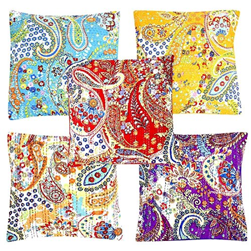 Indian handgefertigt kantha Paisley Bohemian Baumwolle Set of 5 Kissenbezug Decor Kissen, baumwolle, multi, 16X16 inches -