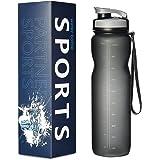 Trinkflasche Wasserflasche Sportflasche aus Tritan Kunststoff mit BPA Frei 600ml &1000ml für Yoga Gym Sport Travel Outdoor Wandern Camping, Grau & Blau