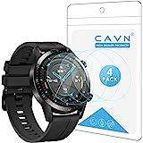 CAVN skärmskydd kompatibel med Huawei Watch GT 2 46mm, 4-pack vattentätt splittringsskydd Ultra Clear Anti-Bubble Tempered Gl