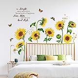 decalmile Pegatinas de Pared Girasol Mariposa Vinilos Decorativos Flores de Jardín Adhesivos Pared Habitación Infantiles Dorm