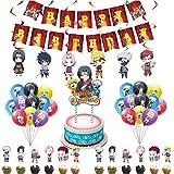 Naruto Globos De Anime, 44Pcs Decoración Cumpleaños Anime Juego De Fiesta Temática Naruto Feliz Cumpleaños Banner Globo Tarj