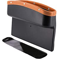 Car Seat Pocket PU Leather Car Console Side Organizer Seat Gap Filler Catch Caddy with Non-Slip Mat 9.2x6.5x2.1 inch…