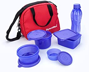 Signoraware Sling Plastic Lunch Box Set with Bag, 5-Pieces, Violet