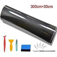 CompraFun Pellicola Adesiva per Auto, Pellicola Adesiva Fibra di Carbonio Rivestimento Adesivo Nero Car Sticker Wrapping…