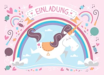 12 Einladungskarten Einhorn Zum Kindergeburtstag / Einladung Unicorn  Mädchen Geburtstag Kinder Karten Set Geburtstagseinladungen U2026 (