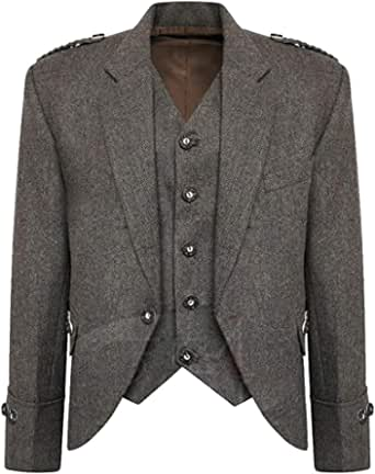 MasonicDirect Tweed Crail Highland Brown Color Kilt Jacket and Waistcoat Scottish Wedding Dress