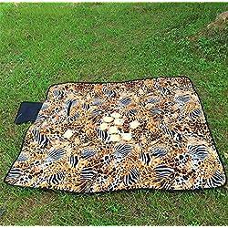 QXWL Alfombra de picnic al aire libre estera gruesa a prueba de agua flocado tigre alfombra de leopardo de color plegable camping alfombra portátil 140 * 150 (CM)
