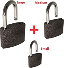 ROLLYWARE™ India's Heavy Duty Steel Padlock Safely Lock Interior or Exterior Gates, Sheds, Lockers, Bikes, Tool Box, or Containers. Includes 3 Master Keys