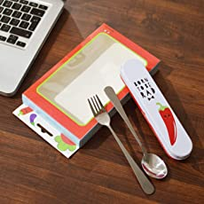 "INFInxt Portable ""Born to BE RAD"" Spoon + Fork+ tin Box Stainless Steel Travel kit (1 PCs)"