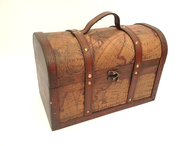 treasure chest vintage colonial map atlas design storage trunk