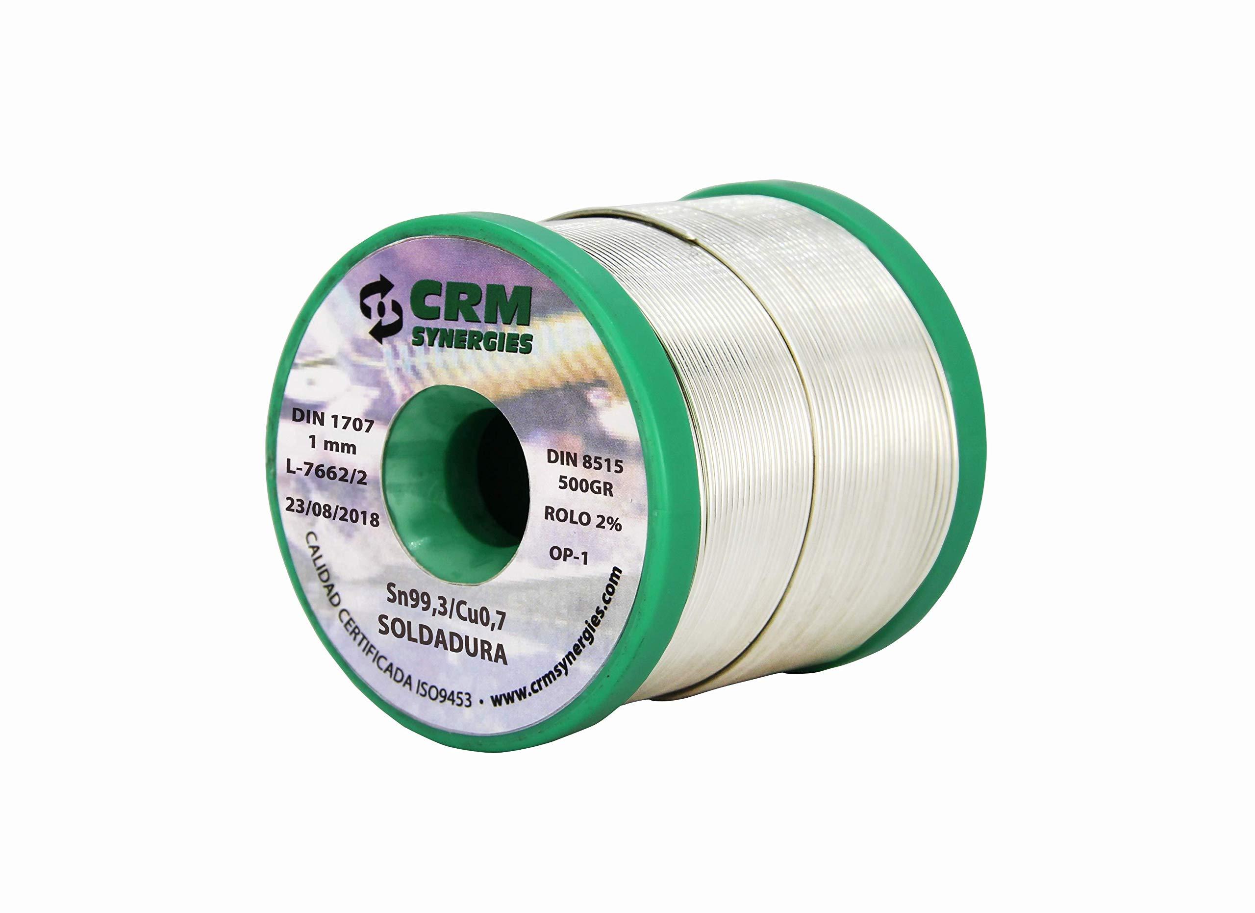 Hilo de Soldar Estaño Cobre CRM Sn99,3/Cu0,7 1mm 500gr
