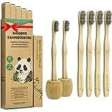 Cepillo Dientes Bambu Paquete de 6 + 2 Portacepillos de Dientes, Cepillos de Dientes de Bambú con cerdas de carbón de bambú p