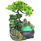 Yeelur Rockery Fountain Atomizer, Simulation Scenery Decoration Feng Shui Decoration Tabletop Fountain, Humidifier…