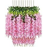 Fourwalls Artificial Hanging Wisteria Flower Vine (Dark Pink, Set of 6)