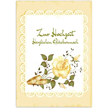 Gluckwunschkarte Zur Hochzeit Motiv Vintage Gelb Mit Rosen Mit
