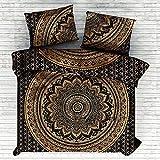 Marusthali Psychedelic Mandala Tröster Cover Single Bettwäsche Throw indischen Bettbezug & Kissen Fall böhmischen Throw Bett in einer Tasche Set mit Bettlaken
