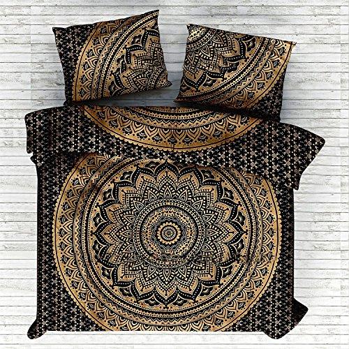 Tröster Gold Set Twin (Marusthali Psychedelic Mandala Tröster Cover Single Bettwäsche Throw indischen Bettbezug & Kissen Fall böhmischen Throw Bett in einer Tasche Set mit Bettlaken)