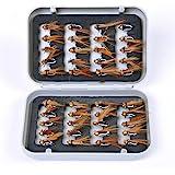 JasCherry 40 Piezas Moscas de Pesca Moscas Artificiales Señuelos de Mosca Señuelos de Pesca con Mosca con Caja Impermeable, P