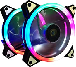 Ventola PC 120 mm,CONISY RGB LED Ventilatore Ultra Silenzioso di Raffreddamento per Computer Case - 2 Pack