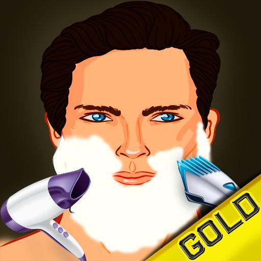 betrunkenen Barbier rasieren Haar Beauty-Salon: der Bart geschnitten Entfernung gefährlicher Verjüngungskur - Gold Edition