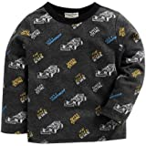 Hopscotch Crayon Flakes Baby Boys Cotton Full Sleeves Vehicle Printed T-Shirt in Gray Color