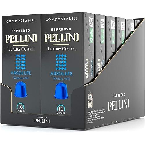 Pellini Caffè Espresso Luxury Coffee Absolute, Capsule Compatibili Nespresso, COMPOSTABILI e Autoprotette, 12 Astucci da 10 Capsule, Totale 120 Capsule
