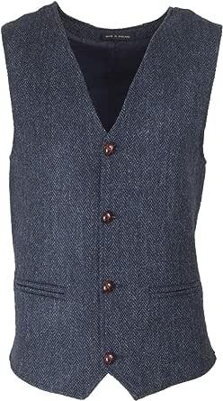 Walker & Hawkes - Mens Classic Scottish Harris Tweed Herringbone Overcheck Country Waistcoat - Midnight Blue
