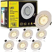 Spot LED Encastrables Orientable Blanc, Bojim 6x 6W GU10 Lampe de Plafond Blanc Chaud Rond Plafonnier Encastré 2800K…
