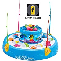 Toyshine Fish Catching Game Big with 26 Fishes and 4 Pods, Includes Music and Lights (Battery Included)