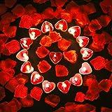 Candela Cuore Romantica, 9 Pezzi Candela d'Amore Romantico, Candela Cuore Rosso, con 100 Pezzi di Petali di Fiori Artificiali